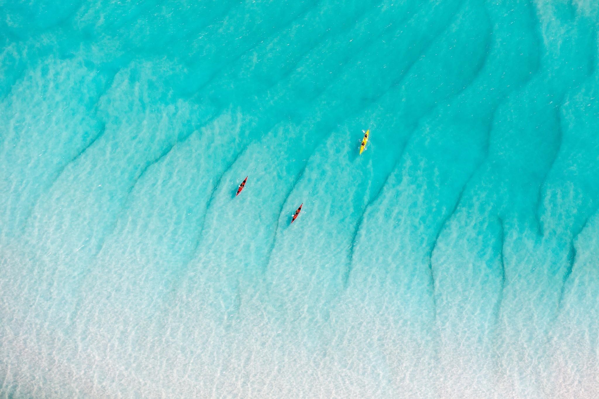 Kayaking at Whitehaven Beach, Whitsundays Islands, QLD