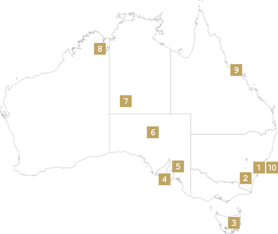 Itinerary Map Treasures of Australia Seamlessly