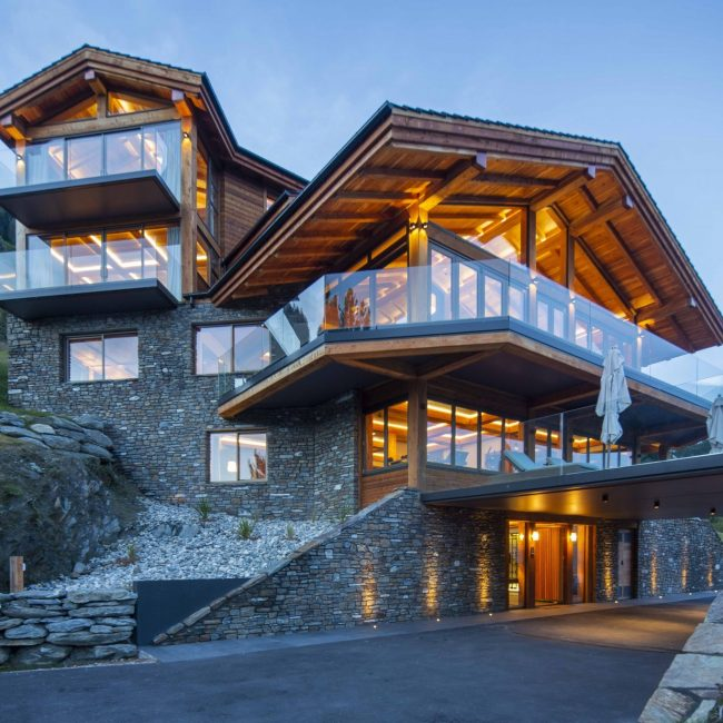 Chalet Exterior Low Angle